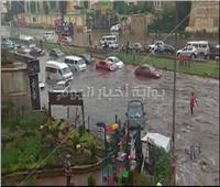 فيديو| رغم تطهير بالوعات.. غرق شوارع مدينة نصر في مياه الأمطار