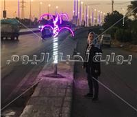 تركيب شجر مضيء بمدينه قها لمنع الحوادث