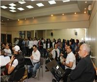 صور| نداء شرارة تجري البروفة النهائية لحفل «الموسيقى العربية»