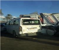 صور| إصابة 10 أشخاص في تصادم سيارات غربي الإسكندرية