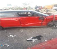 صور.. إصابة 8 أشخاص في تصادم 5 سيارات على الطريق الدائري