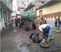 استمرار رفع مخلفات الأمطار بقرى كفر الشيخ