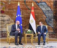 بالصور| «السيسي» يستقبل رئيس المجلس الأوروبي بقصر الاتحادية