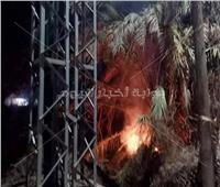 صور| حريق محدود أسفل برج «ضغط عال» بطوخ