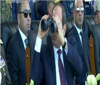 فيديو| الرئيس السيسي يشهد استعراض طائرات f16 خلال مناورة قادر 2020