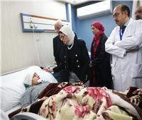 صور| وزيرة الصحة تزور طبيبات حادث الكريمات وتعود لتلقي العلاج بمستشفى وادي النيل