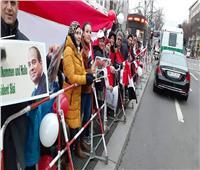 فيديو وصور| الجالية المصرية في برلين تستقبل الرئيس السيسي