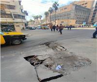 بالصور| هبوط أرضى في الأزاريطة وسط الإسكندرية