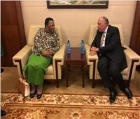 سامح شكري يعقد لقاءً مع وزيرة خارجية جنوب أفريقيا