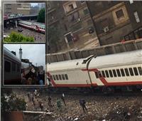 صور| تصادم قطاري ركاب بين إمبابة ورمسيس