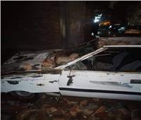 إصابة شخص وتحطم سيارة بعد سقوط سور بالإسماعيلية