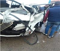 صور| إصابة 5 أشخاص في حادث تصادم بكورنيش الإسكندرية بسبب منخفض التنين