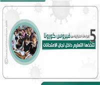 إنفوجراف| ٥ إجراءات احترازية للتعليم داخل لجان الامتحانات ضد فيروس كورونا
