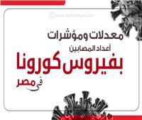 إنفوجراف| مؤشرات ومعدلات الإصابات اليومية بفيروس كورونا في مصر