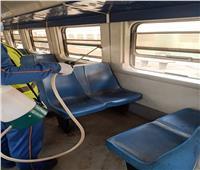 """بالصور.. تعقيم قطارات منوف ومواقع العمل بطريق الصعيد الغربي ضد """"كورونا"""""""