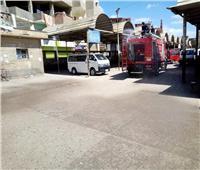 سيارات الدفاع المدني تساهم في تعقيم شوارع كفر الشيخ
