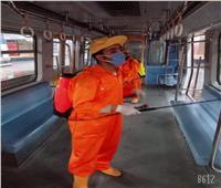 صور| المترو يواصل تعقيم القطارات والمحطات