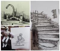 «الزم بيتك.. ارسم نفسك وارسم بيتك» شعار طلاب التربية الفنية بجامعة حلوان