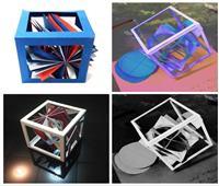 أشكال هندسية بالورق الملون من إبداعات طلاب كلية التربية الفنية بجامعة حلوان