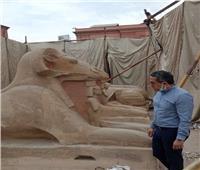 وزير السياحة يتفقد أعمال ترميم الكباش الأربعة في التحرير