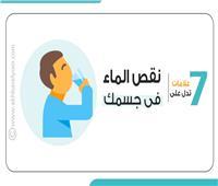 إنفوجراف | 7 علامات تدل على نقص الماء في جسمك.. تعرف عليها