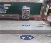 ملصقات وإرشادات أمام ماكينات الصراف الآلي بجامعة بنها لمواجهة كورونا