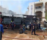 حريق بثلاثة أكشاك لبيع المواد الغذائية بجوار مسجد الفتح