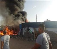 صور| السيطرة على حريق ضخم بكرفانات المنتزة بالإسماعيلية