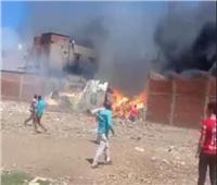 حريق هائل في منازل وورش أثاث بمنطقة السيالة في دمياط