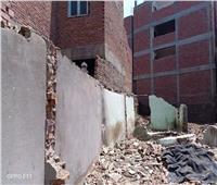 صور| انهيار جزئي لعقار بقرية دمهوج بالمنوفية