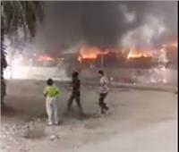 حريق ضخم يلتهم سوق توشكى بحلوان