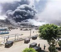20 سيارة إطفاء و2 خزان مياه لإخماد حريق سوق توشكى بحلوان