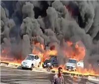 خاص| الصحة: 6 مصابين و15 سيارة إسعاف في حريق خط مازوت طريق الإسماعيلية