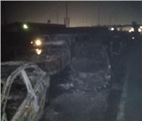 صور| تفحم 31 سيارة في حريق خط بترول طريق الإسماعيلية
