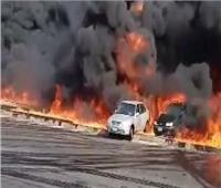 فيديو وصور| القصة الكاملة لـ حريق خط بترول طريق مصر الإسماعيلية