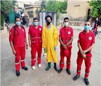 الهلال الأحمر يتفقد لجان شبرا مصر للتعقيم وتقديم المساعدات
