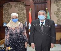 محافظ المنيا يستقبل رئيسة قسم ذوي الاحتياجات الخاصة بمكتبة مصر العامة