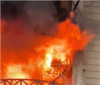 حريق هائل بعمارة سكنية في جسر السويس