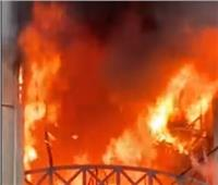 7 سيارات إطفاءللسيطرة على حريق عقار جسر السويس