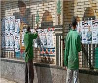 إزالة الملصقات الخاصة بالدعاية الانتخابية في مدينة المنيا