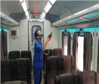 استمرار أعمال تطهير وتعقيم القطارات ضد كورونا