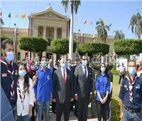 بالصور| عبد الغفار والخشت يشهدان تحية العلم وعزف النشيد الوطنى بـ«جامعة القاهرة»