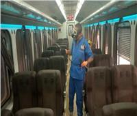 صور| حملة تعقيم واسعة للقطارات بعد أول «أسبوع دراسة»