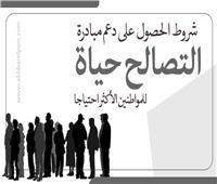 انفوجراف | شروط الحصول على دعم «التصالح حياة» للمواطنين الأكثر احتياجًا
