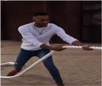 فيديو | محمد رمضان يتحدى حيوان «اللايجر» في شد الحبل