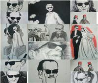 صور| مراحل من حياة طه حسين بريشة التشكيليين