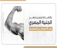 إنفوجراف| بالأرقام تحسن سعر الجنيه المصري بعد 4 أعوام من التعويم