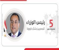 إنفوجراف| 5 تحذيرات من رئيس الوزراء للمصريين بشأن كورونا