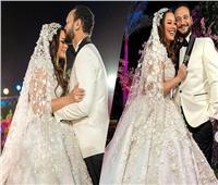 فيديو| بفسان أسود حزين.. زوجة خالد صالح تبارك لـ«أحمد وهنادي»