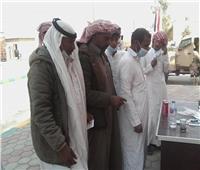 بالصور| توزيع كمامات على الناخبين أمام  لجان شمال سيناء